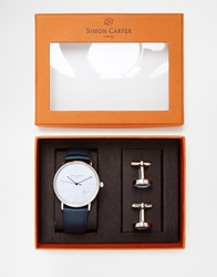 Simon Carter Watch And Button Cufflinks Gift Set Black