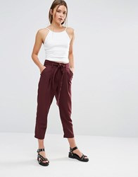 New Look Tie Waist Tapered Trousers Burgundy