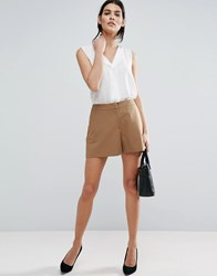 Asos Tailored A Line Shorts Camel Stone
