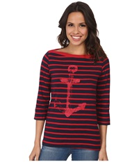 Hatley Bretton Tee Navy Red Stripes Anchor Women's T Shirt