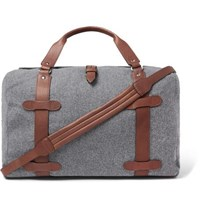 Brunello Cucinelli Leather Trimmed Wool Holdall Gray