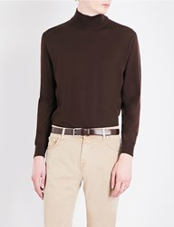 Canali Mock Turtleneck Wool Jumper Brown