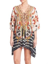 Camilla Short Lace Up Silk Caftan Rosa