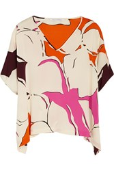 Diane Von Furstenberg Adria Printed Stretch Silk Top White