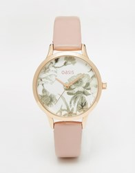 Oasis Floral Print Dial Pink Leather Watch