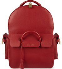 Buscemi Handle Leather Backpack Red