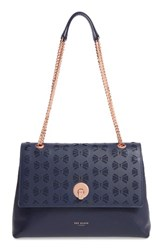 Ted Baker London Leather Shoulder Bag Blue Navy