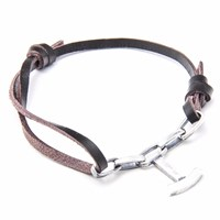 Anchor And Crew Dark Brown Schooner Leather Silver Bracelet