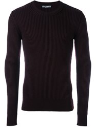 Dolce And Gabbana Ribbed Fitted Jumper Pink And Purple
