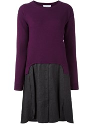 Carven 2 In 1 Sweater Dress Pink And Purple