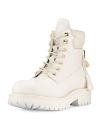 Buscemi Site Leather Lace Up Hiking Boot White
