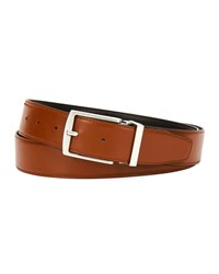 Giorgio Armani Traditional Dual Textured Leather Belt Brown