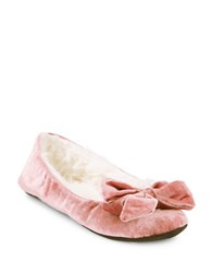 Kate Spade Scarlett Faux Fur Lined Velvet Slippers With Bow Antique Rose