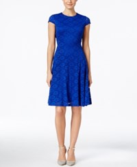 Alfani Petite Lace Fit And Flare Dress Only At Macy's Modern Blue