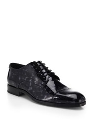 Jimmy Choo Prescott Printed Patent Leather Lace Up Shoes Black Grey