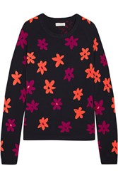 Chinti And Parker Floral Intarsia Cashmere Sweater Midnight Blue Pink