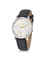 Maserati Epoca White Dial And Black Leather Strap Men's Watch