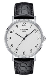 Tissot Men's Everytime Leather Strap Watch 38Mm Black Silver