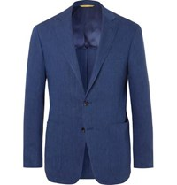Canali Blue Kei Slim Fit Linen And Wool Blend Suit Jacket Blue