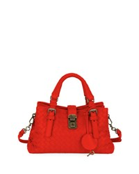 Roma Small Woven Leather Satchel Bag China Red