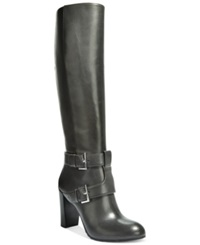 Nine West Skylight Wide High Dress Boots Women's Shoes Stone Leather