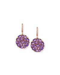 Signature 18K Rose Gold Amethyst And Pink Sapphire Round Drop Earrings Rina Limor