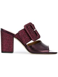 Paris Texas Glitter Buckled Mules Pink And Purple