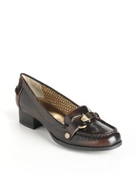 Anne Klein Dagney Patent Heeled Loafers Dark Brown