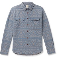 Faherty Canyon Organic Cotton Jacquard Overshirt Blue