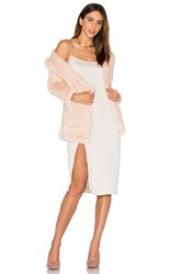 H Brand Huxley Knitted Stretch Rabbit Fur Long Cardigan Blush