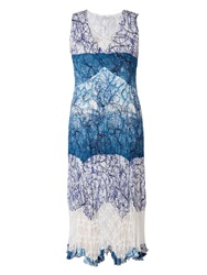 Chesca Plus Size Scribble Print Dress With Lace Trim Ivory