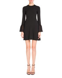 Saint Laurent Eyelet Bell Sleeve Sable Dress Black