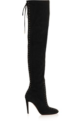 Aquazzura Corset Lace Up Suede Over The Knee Boots