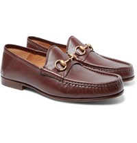 Gucci Easy Roos Horsebit Collapsible Heel Leather Loafers Brown