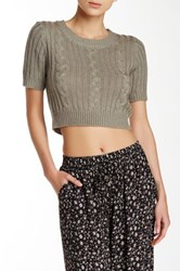 Cecico Cable Knit Short Sleeve Cropped Sweater Beige