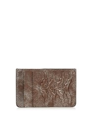 Alexander Mcqueen Ribcage Embossed Leather Cardholder Silver