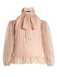 Anna October Striped Organdy Cold Shoulder Blouse Nude