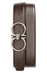 Salvatore Ferragamo Men's Big And Tall Double Gancio Reversible Belt Hickory Chocolate