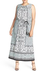 Plus Size Women's London Times Lace Print Belted Maxi Dress