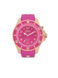 Kyboe Power Rose Goldtone Stainless Steel And Violet Silicone Strap Watch 48Mm Pink