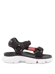 Givenchy Jaw Contrast Panel Leather Sandals Black