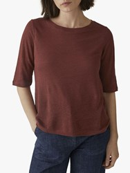 Toast Linen Half Sleeve T Shirt Burnt Red