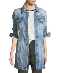 Etienne Marcel Long Distressed Denim Jacket Light Blue
