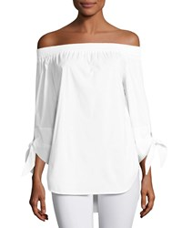 Finley Jill Off The Shoulder Tie Sleeve Blouse White