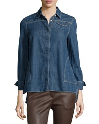 Brunello Cucinelli Denim High Low Long Sleeve Blouse