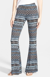 Hip Mixed Print Flare Leg Pants Juniors Charcoal