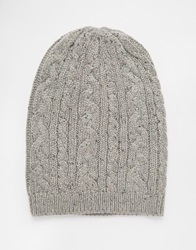 Asos Cable Slouchy Beanie In Grey With Nep