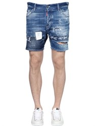 Dsquared2 Destroyed Stretch Cotton Denim Shorts