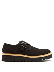 Stella Mccartney Monk Strap Canvas Raised Sole Shoes Black