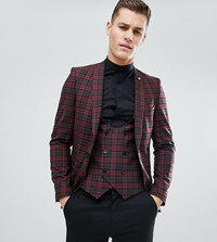 Noose And Monkey Tall Super Skinny Suit Jacket In Plaid Check Red